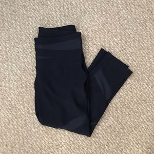 MPG Navy Capris with Cutout Leather Patches